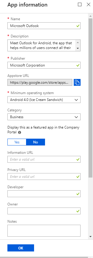 Adding Android Apps in Intune