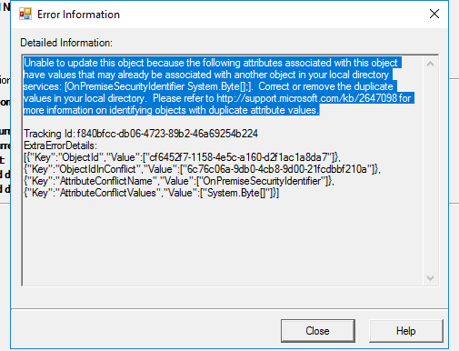 Error information in Azure AD Sync to Unlink the AD Accounts